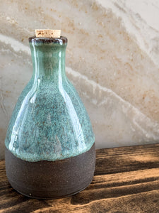 Blue-Glazed Chocolate Clay Oil Bottle - by Sophia Grace Collection