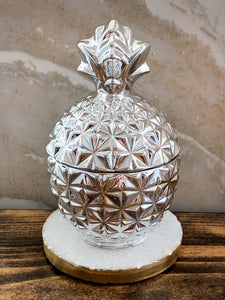 Silver Pineapple Soy Candle - With Surprise Earrings Inside! - Pick Your Scent - by Sweet Mermaids