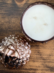Rose Gold Pineapple Soy Candle - With Surprise Earrings Inside! - Pick Your Scent - by Sweet Mermaids