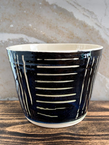 Deep Blue Sgraffito Planter - by Sophia Grace Collection