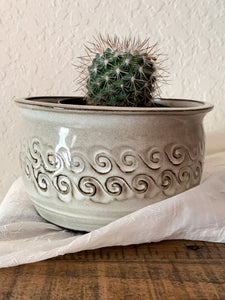 "6"" Chocolate Planter with Swirl Detail and White Glaze - by Sophia Grace Collection"
