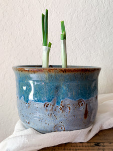 Large Blue Speckled Clay Planter - by Sophia Grace Collection