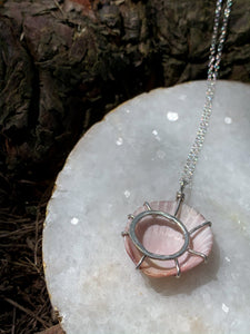 Pink Seashell Sterling Silver Necklace - by Francesca