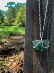 Teal Wave Sea Glass Necklace in Sterling Silver - by Francesca