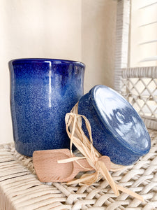 Blue Jar with Lid and Wooden Scoop - by Sophia Grace Collection