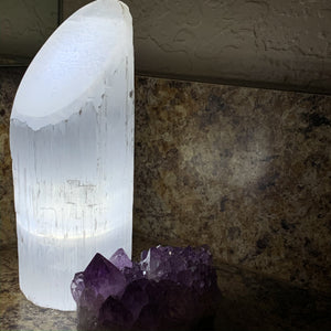 Polished Angle Selenite LED Lamp - Cleanse // Protection // Peace
