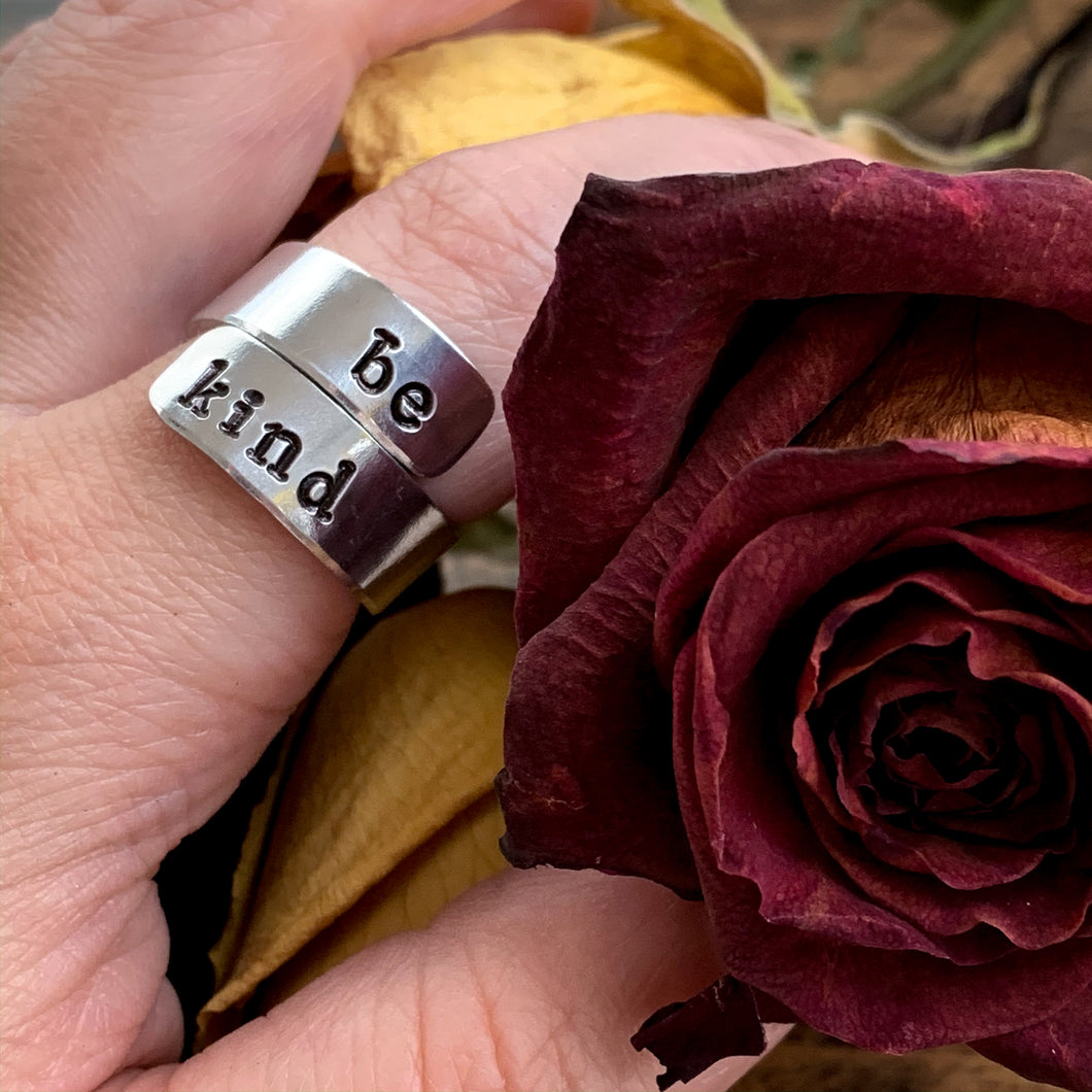 Custom Adjustable Aluminum Wrap Ring - Personalized Name - You Choose The Saying! - by Via Francesca