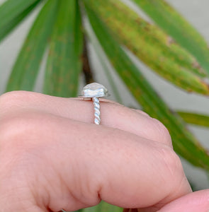 Size 6.5 Moonstone Ring - Sterling Silver - One of a Kind - by Francesca