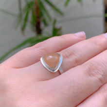 Load image into Gallery viewer, Size 5.5 Peach Moonstone Ring - Sterling Silver - One of a Kind - by Francesca