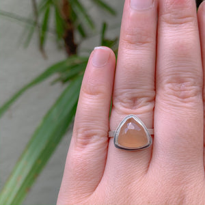 Size 5.5 Peach Moonstone Ring - Sterling Silver - One of a Kind - by Francesca