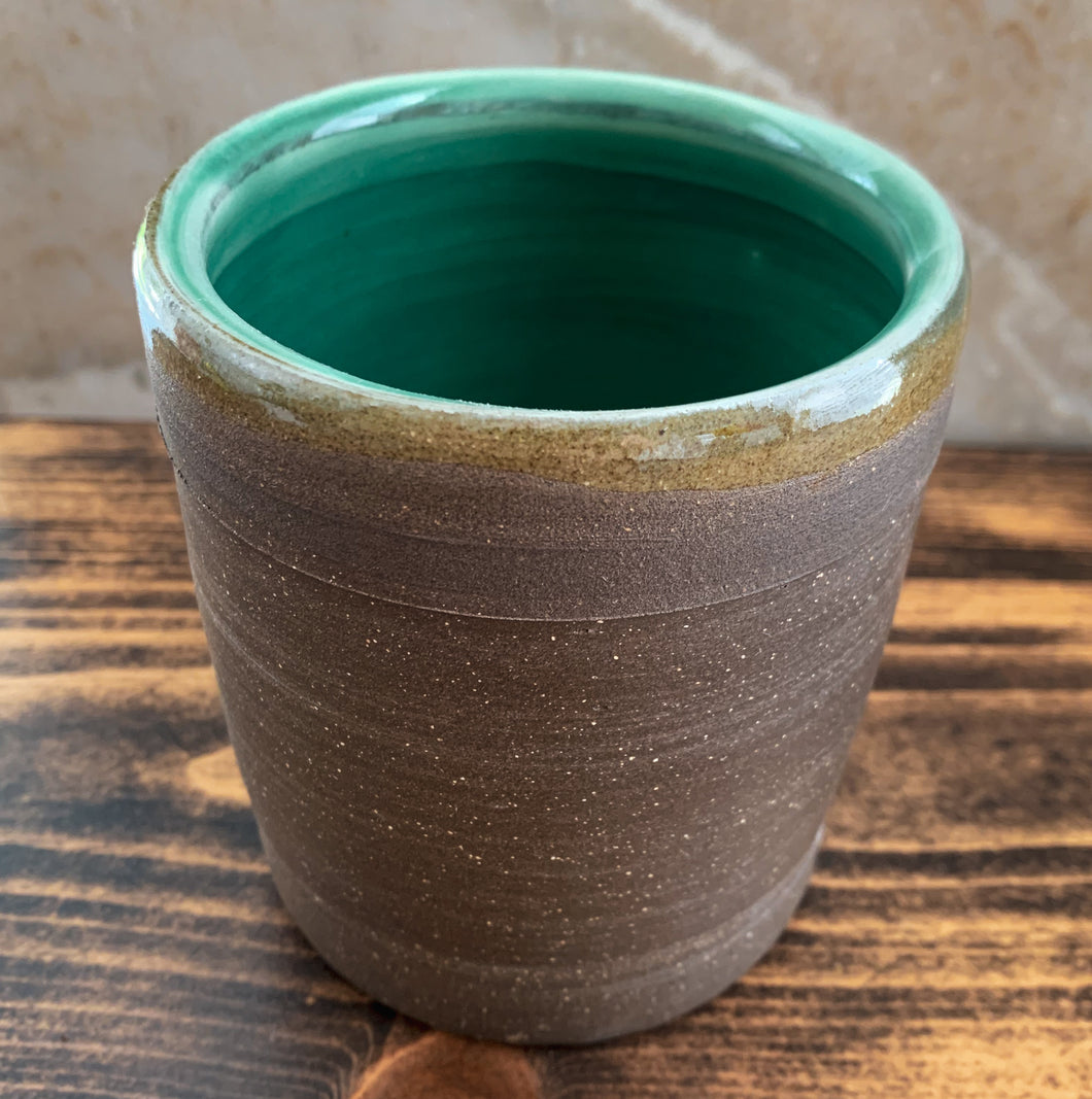 Chocolate Clay Cup with Chun Glaze - by Sophia Grace Collection