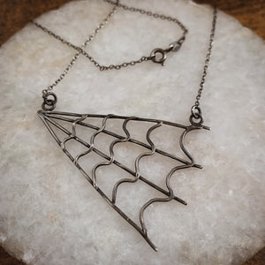 Sterling Silver Spider Web Necklace - by Francesca