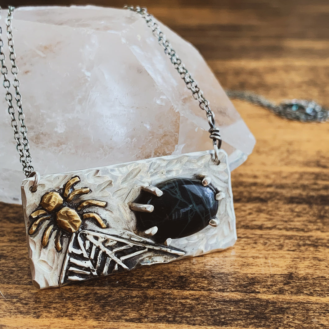 Spider Web Obsidian Mixed Metal Necklace - Sterling Silver & Brass - by Francesca