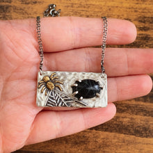 Load image into Gallery viewer, Spider Web Obsidian Mixed Metal Necklace - Sterling Silver & Brass - by Francesca