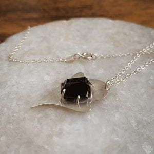 Black Tourmaline Sterling Silver Ghost Necklace - by Francesca