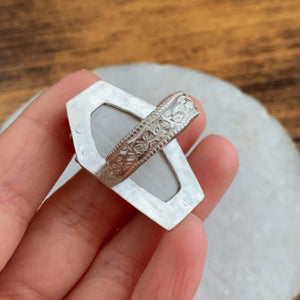 Size 8 Sterling Silver & Upcycled China Coffin Ring - by Francesca