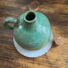 Load image into Gallery viewer, Blue Green & Brown Speckled Clay Oil Decanter - by Sophia Grace Collection
