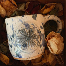 Load image into Gallery viewer, Blue Splatter Mug with Flower Detail - by Sophia Grace Collection