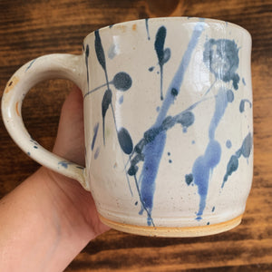 Blue Splatter Mug with Flower Detail - by Sophia Grace Collection