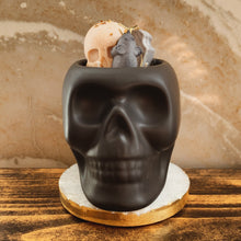 "Load image into Gallery viewer, ""Lemongrass"" Scented Skull Soy Candle - by Sweet Mermaids"