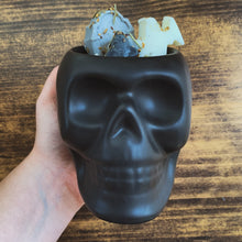 "Load image into Gallery viewer, ""Suede & Smoke"" Scented Skull Soy Candle - by Sweet Mermaids"