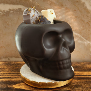 """Suede & Smoke"" Scented Skull Soy Candle - by Sweet Mermaids"