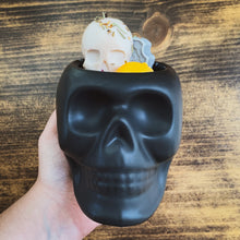 "Load image into Gallery viewer, ""Patchouli"" Scented Skull Soy Candle - by Sweet Mermaids"