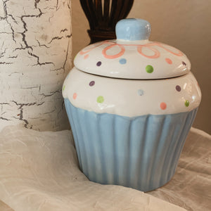 """Birthday Cake"" Scented Soy Candle in a Blue Ceramic Cupcake Jar - by Sweet Mermaids"
