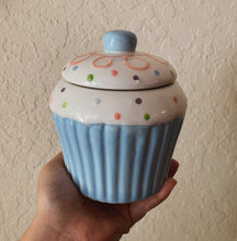 "Load image into Gallery viewer, ""Birthday Cake"" Scented Soy Candle in a Blue Ceramic Cupcake Jar - by Sweet Mermaids"