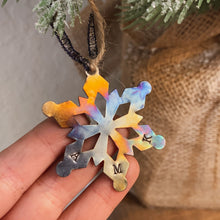 Load image into Gallery viewer, - Personalized - Burnished Tin Snowflake Ornament - Oil Slick Finish - Hand Stamped - by Francesca