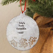 Load image into Gallery viewer, - Personalized - Galvanized Metal Disc Ornament With Cutout - Hand Stamped - by Francesca
