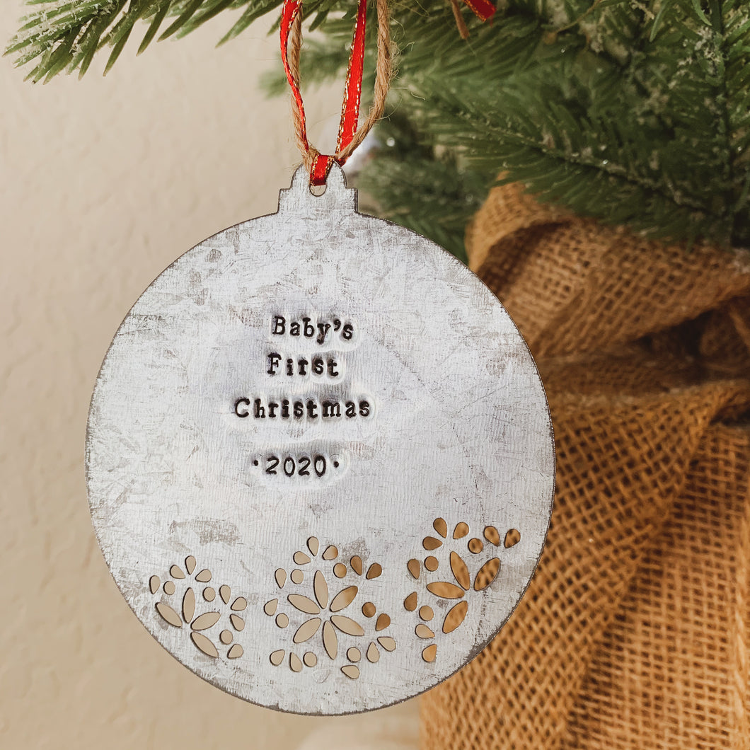 - Personalized - Galvanized Metal Disc Ornament With Cutout - Hand Stamped - by Francesca