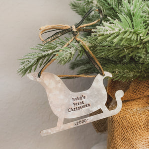 - Personalized - Galvanized Metal Sleigh Ornament - Hand Stamped & Custom - by Francesca