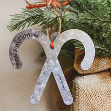 Load image into Gallery viewer, - Personalized - Galvanized Metal Candy Cane Ornament - Hand Stamped & Custom - by Francesca
