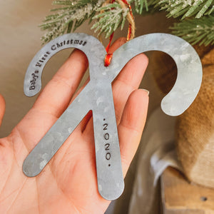 - Personalized - Galvanized Metal Candy Cane Ornament - Hand Stamped & Custom - by Francesca