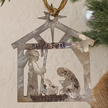 Load image into Gallery viewer, - Personalized - Galvanized Metal Nativity Ornament - Hand Stamped & Custom - by Francesca