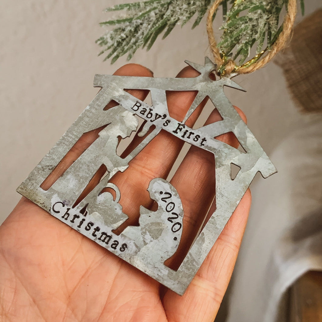 - Personalized - Galvanized Metal Nativity Ornament - Hand Stamped & Custom - by Francesca