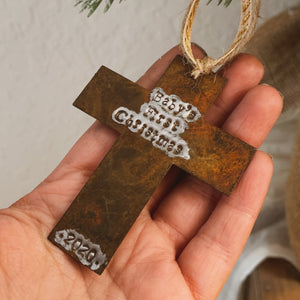 - Personalized - Rusty Cross Ornament - Hand Stamped - by Francesca