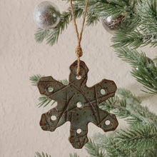 Load image into Gallery viewer, Blue-Green Snowflake Speckled Clay Ornament - by Sophia Grace Collection