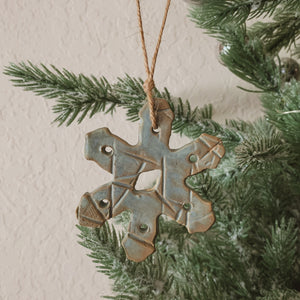 Light Blue-Green Snowflake Clay Ornament - by Sophia Grace Collection