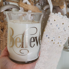 "Load image into Gallery viewer, ""Nordic Balsam"" Scented Soy Candle - ""Believe"" - by Sweet Mermaids"