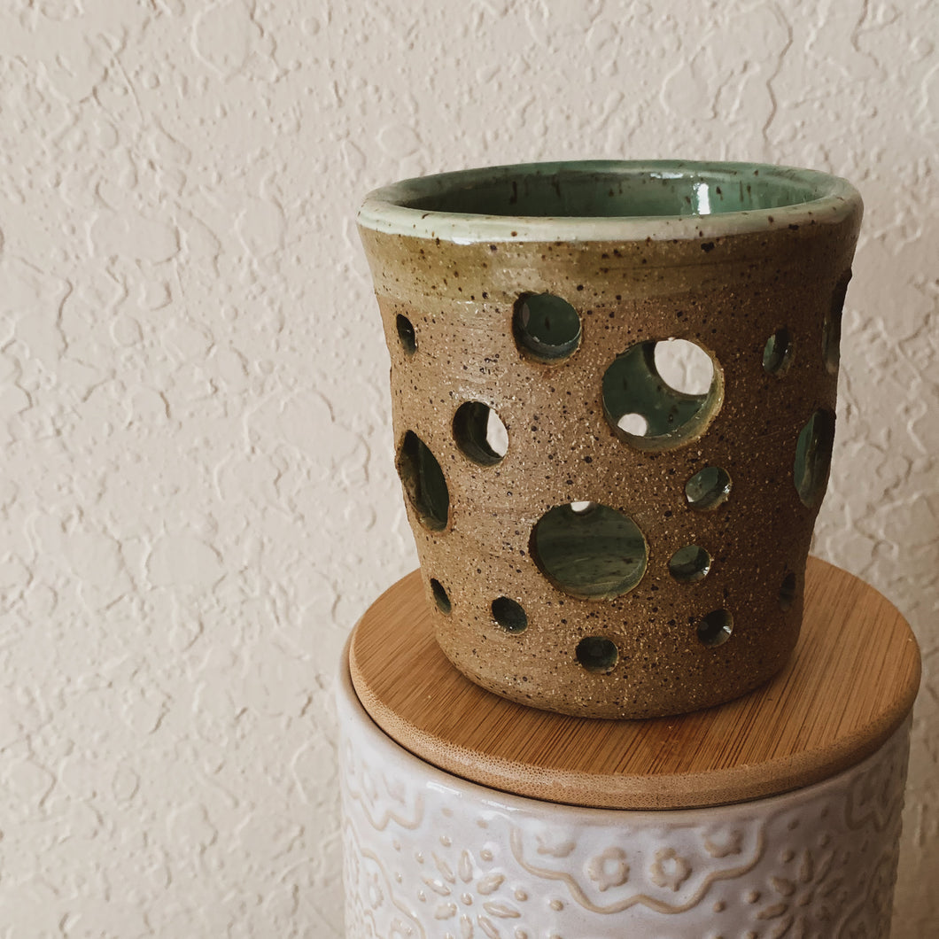 Speckled Clay Candle Holder - Lantern - by Sophia Grace Collection