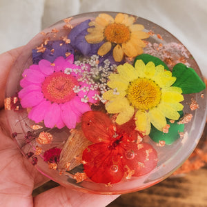 Round Resin Trinket Box with Multicolored Flower & Copper Flake Detail - by Ethereal Muse