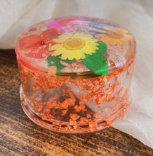 Load image into Gallery viewer, Round Resin Trinket Box with Multicolored Flower & Copper Flake Detail - by Ethereal Muse