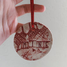 Load image into Gallery viewer, Red Circle Valentine Ornament with Words - by Sophia Grace Collection