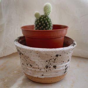 Tiny White & Black Speckled Planter - by Sophia Grace Collection