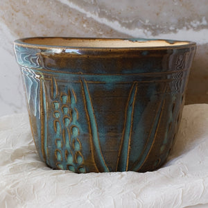 "6"" Blue & Brown Textured Planter - by Sophia Grace Collection"