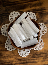 "Load image into Gallery viewer, Selenite Stick - 3"" Selenite Wand - Cleanse // Protection // Peace"