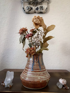 Blue Drip Tan Speckled Clay Vase - by Sophia Grace Collection