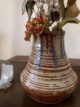 Load image into Gallery viewer, Blue Drip Tan Speckled Clay Vase - by Sophia Grace Collection